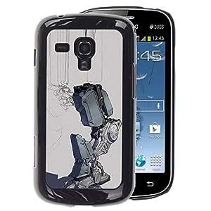 A-type Arte & diseño plástico duro Fundas Cover Cubre Hard Case Cover para Samsung Galaxy S Duos S7562 (Sad Robot Depression Grey Futuristic)
