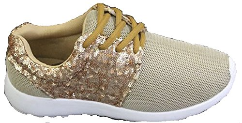 Koo-T Womens Ladies Running Trainers Glitter Fitness Gym Sports Lace up Shoes Size Deema Champagne eVoPqZEp