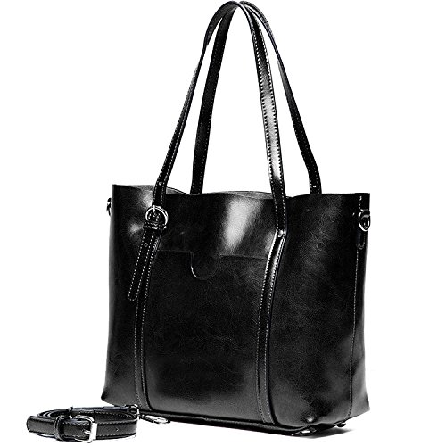 Real Women's Leather Black Vintage Shoulder Tote YALUXE Large Work Bags Style HTtpWq