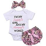 Catpapa 3PCS Newborn Baby Girl Romper Jumpsuit Bodysuit +Pants Shorts+Headband Outfit Set (White02, 0-6 Month)