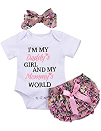 3PCS Newborn Baby Girl Romper Jumpsuit Bodysuit +Pants...