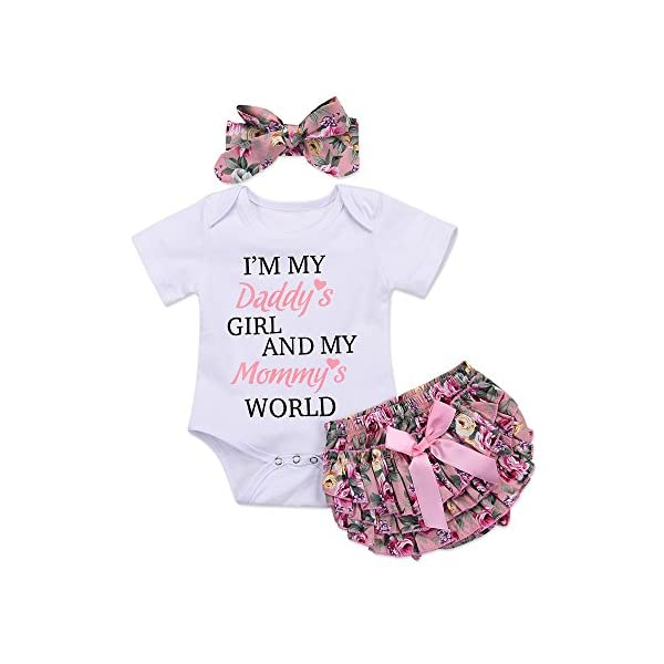 Honykids 3PCS Newborn Baby Girl Romper Jumpsuit Bodysuit +Pants Shorts+Headband Outfit...