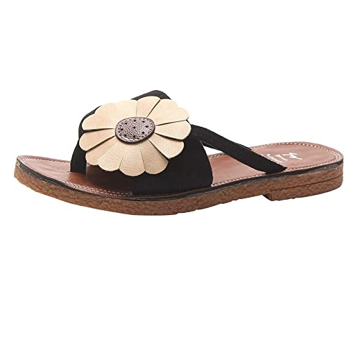 779813d78 Slide Sandals for Women Flower Sandals Flat Sandals Slippers Flip Flop  Round Toe Beach Slippers CapsA