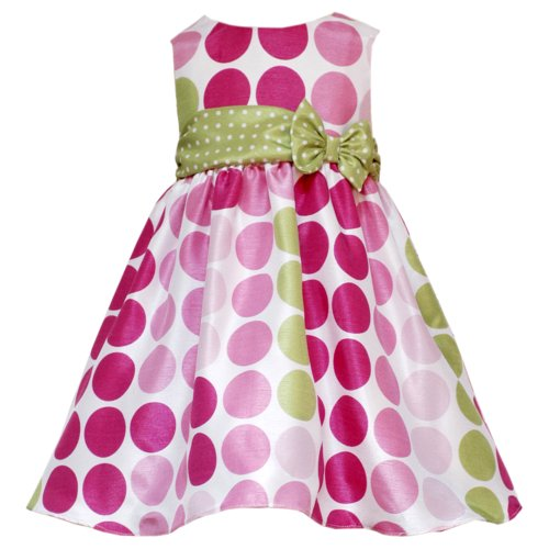 Rare Editions INFANT/TODDLERS 12M-4T PINK LIME-GREEN MULTI DOT SHANTUNG Special Occasion Wedding Flower Girl Party Dress