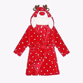 Albornoz con capucha de franela, toalla de baño, diseño de ciervo navideño, para niños y niñas (130 cm): Amazon.es: Hogar
