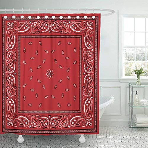 (Franala Colorful Pattern Red Bandana Border Paisley Bandanna Classic Scarf Polyester Fabric Shower Curtain Sets with Hooks Creative Bathroom Shower Curtain )