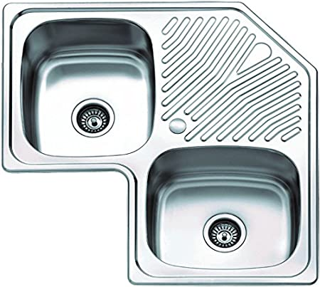 Stainless Steel 1.75 Bowl Corner Kitchen Sink: Amazon.co.uk: DIY & Tools