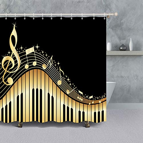 VANCAR Golden Music Notes of Piano Black Background Musical Melody Design Waterproof Polyester Fabric Bathroom Shower Curtain Sets for Bath Room Decoration Home Decor -