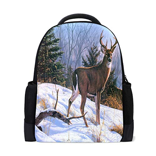Backpack Two Deer Personalized Shoulders Bag Classic Lightweight Daypack for Men/Women/Students School
