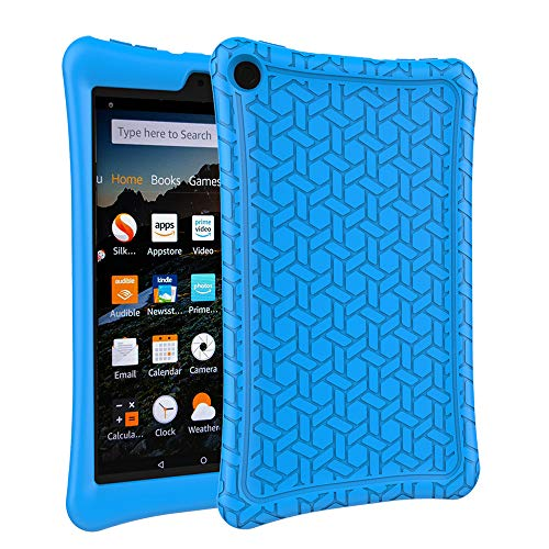 eTopxizu Case for All-New Amazon Fire HD 8 2018/2017, Kids Friendly Light Weight Anti Slip Shockproof Protective Cover Soft Silicone Back Cover Case for All-New Fire HD 8 Tablet 2018/2017, Blue