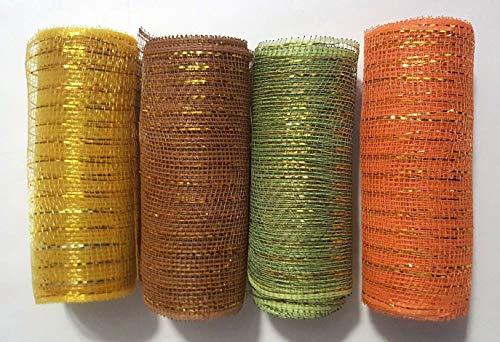 Harvest Green Fabric (Fall Autumn Harvest Tulle Mesh Ribbon- Set of 4)