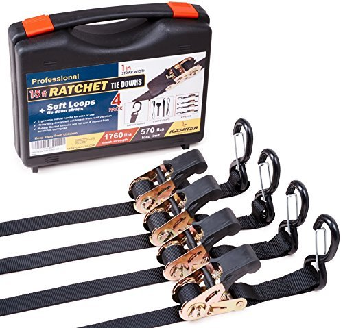 Heavy duty Ratchet Straps - Pro Set - 4 pack 15 ft 1760Lbs, Boat, ATV & Motorcycle Tie down straps, BONUS  Soft loops – Cargo Straps for moving equipment, kayak etc. Great Truck & Trailer Accessories -