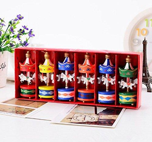 (URToys 6Pcs/Box Vintage Mini Hanging Pendant Christmas Tree Ornaments Wedding Decoration Wooden Carousel Horse Kids Christmas Birthday Gift)
