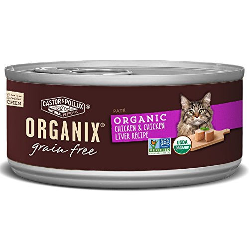 Castor & Pollux Organix Chicken & Chicken Liver Pate Recipe For Adult Cats, 5.5-Ounce Cans (Pack Of 24)