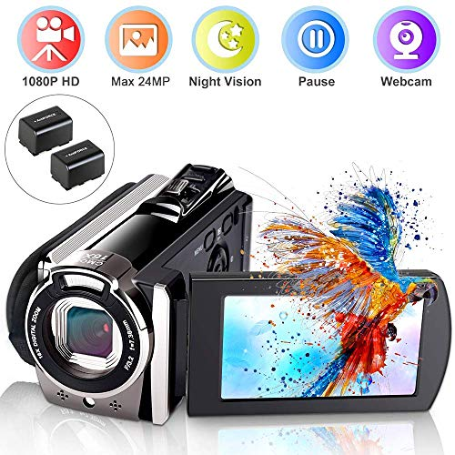 Video Camera Camcorder, Ifmeyasi Digital YouTube Vlogging Camera Recorder, Full HD 1080P 24MP 3.0″ LCD 270 Degree Flip Screen 16X Digital Zoom Camcorder with 2 Batteries