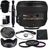 Nikon AF-S NIKKOR 50mm f/1.4G Lens + 58mm 3 Piece Filter Set (UV, CPL, FL) + Lens Cap + Lens Hood + Lens Cleaning Pen + Microfiber Cleaning Cloth + Lens Cap Keeper Bundle