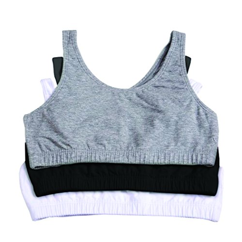 Fruit of the Loom Big Girls' Cotton Built-Up Sport 3 Pack, Black/White/Grey Heather, 38(Pack of 3) (Fruit Of The Loom Camisole)