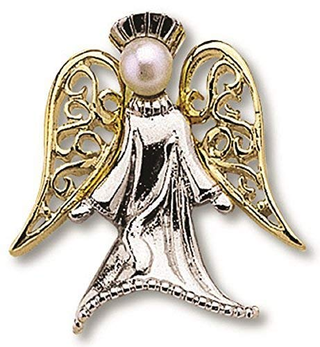 Gold Angel Lapel Pin - Guardian Angel Silver With Gold Wings Lapel Pin On Header Card