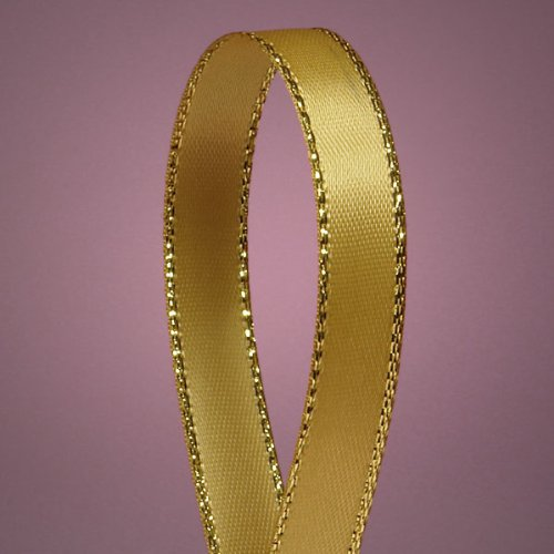Antique Gold Satin Ribbon with Gold Edges, 3/8