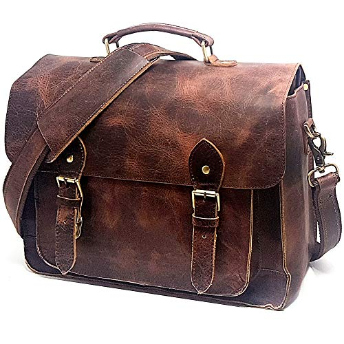 Leather DSLR Camera Bag 15.6-Inch Laptop Briefcase (Vintage Brown)