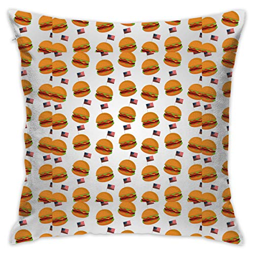FGHTC Burgers Flag Customized Square Woven Decorative Cotton Linen Single Pillowcase Cushion Cover for Sofa Sofa Or Bed Set 18x18 Inches