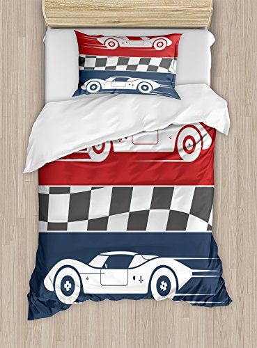 Lunarable Boy's Room Duvet Cover Set Twin Size, Auto Racing Cars Logo Flag Winner on Road Popular Illustration, Decorative 2 Piece Bedding Set with 1 Pillow Sham, Dark Coral White Night Blue