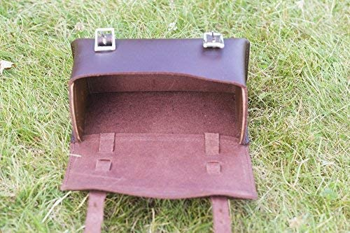 London Craftwork Classic Square Saddle//Handlebar Bicycle Bag Genuine Leather Cherry Brown for Bike Tools Box-Cher