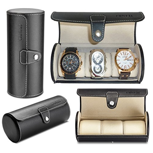 Leatherette Roll Traveler's Watch Storage Organizer for 3 Watch and / or Bracelets (Black) (Watch And Roll Case)