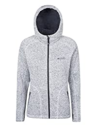 Mountain Warehouse Nevis Womens Fur Lined Hoodie - Soft, Warm & Insulating Fleece Lining with Adjustable Hood & Easy Care - Ideal Autumn Wear for Wrapping Light Grey 12