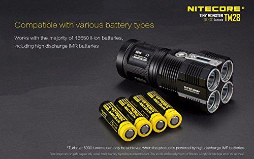 NITECORE TM28 4CREE XHP35 HI max.6000LM beam distance 655meter LED outdoor flashlight + 4pcs 18650 3100mAh li-ion batteries by Nitecore (Image #3)
