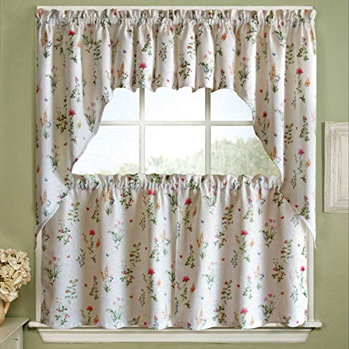 - BED BATH N MORE Vibrant Floral Garden Motif Jacquard Window Curtain Pieces - Tiers, Valance and Swag Pair Options 24 inch Tier Pair