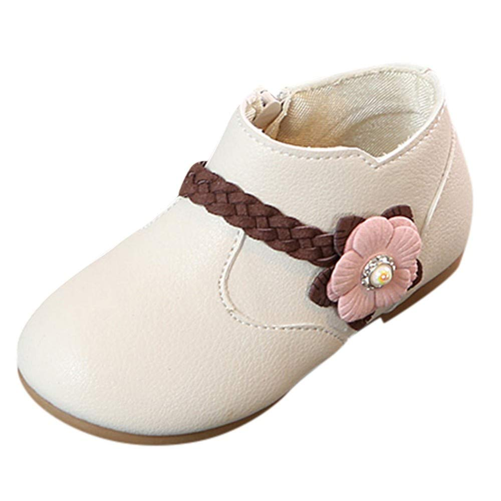 Minisoya Cute Baby Girls Flower Weave Bootie Princess Party Children Kids Zip Boots Sneakers Casual Shoes