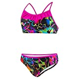 Speedo Girls 2 Piece Tankini and Bikini Colorful Fashion Comfort Swimsuits (8, (13)Speedo Black/Neon Hearts)