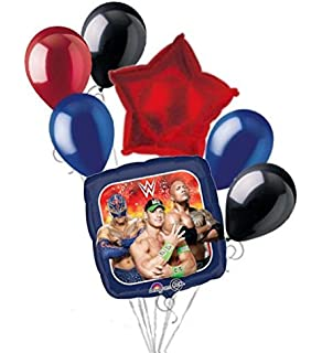 7 Pc WWE John Cena The Rock Balloon Bouquet Party Decoration Wrestling Birthday