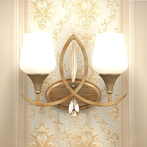 (Tangkula 2-Light Wall Sconce Home Bathroom Bedroom Vanity Lamp Wall Mounted Lighting Fixtures Glass Shade Wall Lamp UL E26)