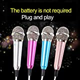 angel3292 Mini Portable Vocal Instrument Microphone for Mobile Phone 3.5mm Universal Wire Connect Karaoke Metallic Mini Microphone for Cell Phone PC Silver