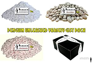 Penguin Caffeinated Mints 3-Flavor Variety: One 8 oz Bag Each of Peppermint, Chocolate, and Cinnamon in a Gift Box