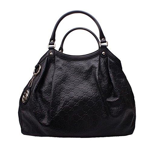 Gucci Sukey Guccissima Black Leather Large Tote Bag Handbag 3e2b281b2558b
