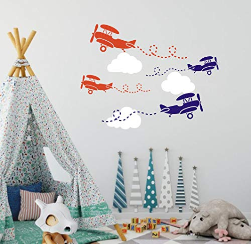 Airplane Wall Decal Clouds Decal, Vinyl Wall Stickers for Nursery, Kids Boys Room Decor, Wall Decals for - Orange Airplanes