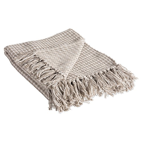 Throw Farm - DII Rustic Farmhouse Cotton Houndstooth Blanket Throw with Fringe For Chair, Couch, Picnic, Camping, Beach, & Everyday Use , 50 x 60