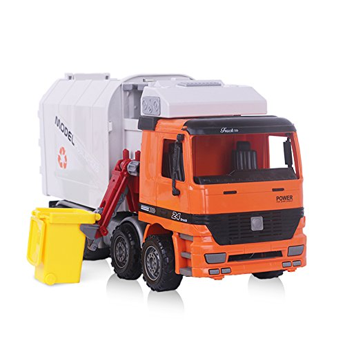 (Garbage Truck, Sanitation Plastic Truck Toy Model with Trashcans, 14