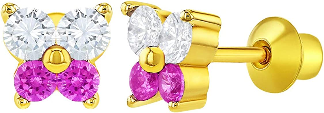18k Gold Plated CZ Butterfly Shaped Earrings Screw Back Baby Kids Girls Toddlers