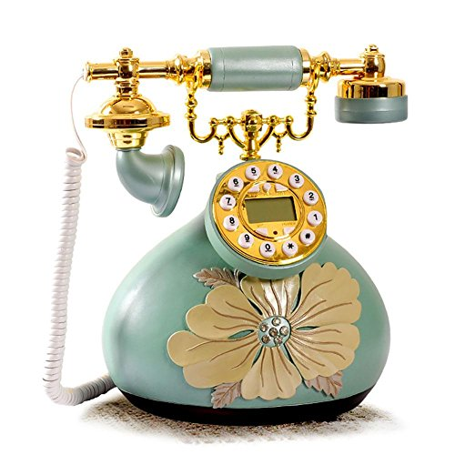 LPY-Home Desk Phone Retro Craft Personality Peony Style With Push Buttons