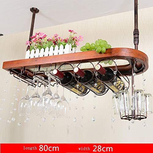 SED Household Wine Shelf Cup Holder- Solid Wood+Lron Hanging Wine Glass Rack Goblet Holder Upside Down Wine Glass Holder Color Size Optional Home Living Room Shelf Creative Creative Decorations,8028