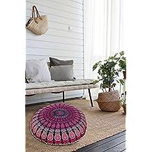 "Large 32"" Round Pillow Cover, Decorative Mandala Pillow Sham, Indian Bohemian Ottoman Poufs, Pom Pom Pillow Cases, Outdoor Cushion Cover,"