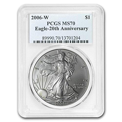 2006 W American Silver Eagle 20th anniversary $1 MS70 PCGS ()