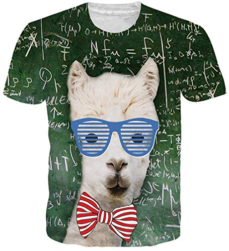 (NEWISTAR Mens Womens Alpacas Sunglasses Animal 3D Print Shirt Summer Personalized Casual Short Sleeve Tshirt)