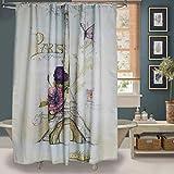 "Uphome Paris Fabric Shower Curtain, Heavy Duty Cream Eiffel Tower Bathroom Shower Curtain with Bluish Flowers for Bathtubs Showers, Vintage Paris Bathroom Decor, (72"" W x 72"" H)"