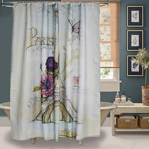 "Uphome Paris Fabric Shower Curtain, Heavy Duty Cream Eiffel Tower Bathroom Shower Curtain with Bluish Flowers for Bathtubs Showers, Vintage Paris Bathroom Decor, (72"" W x 72"" H)"