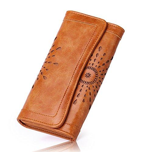 APHISONUK Women's Soft Leather Purse RFID Blocking Wallet Lady Credit Card...